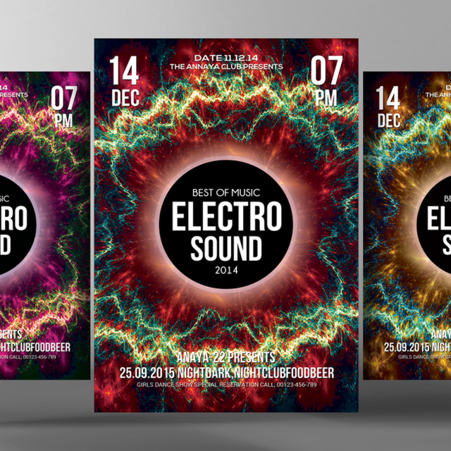 electro sound party flyer Template for Free Download on Pngtree