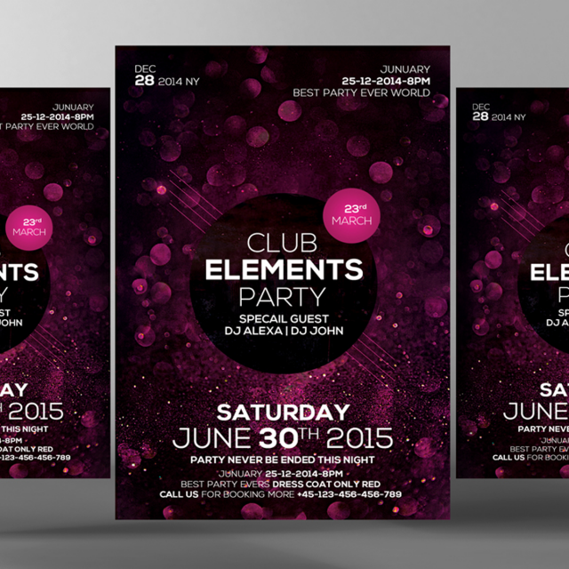 club elements party flyer psd Template for Free Download on Pngtree