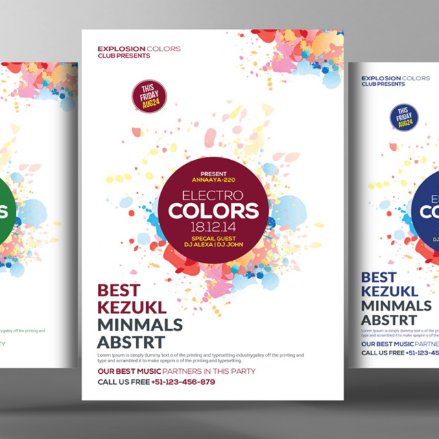 electro colors party flyer template for free download on pngtree