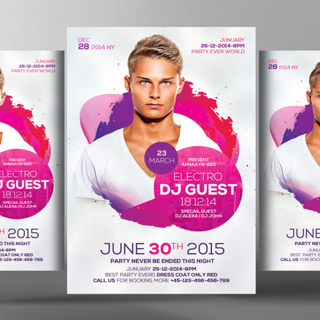 Dj guest party flyer psd template for free download on pngtree.