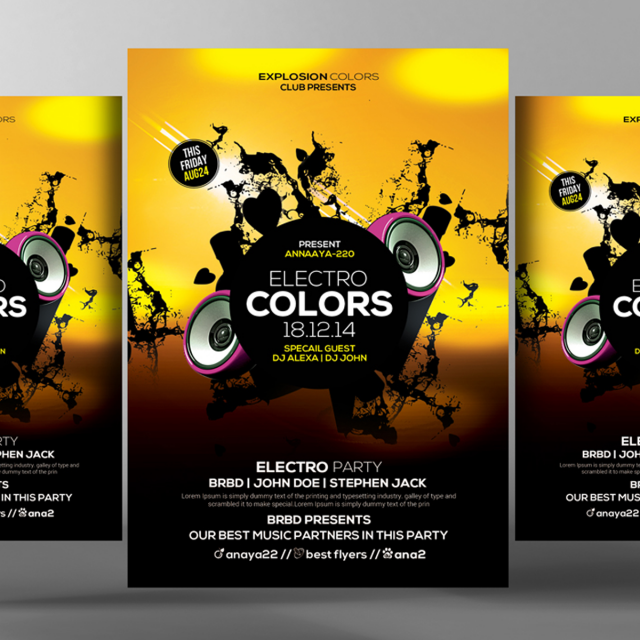 electro sound futuristic flyer psd template Template for Free ...