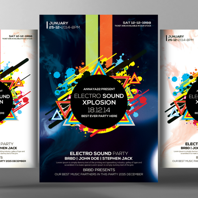 Electro future flyer poster templates template for free for Free downloadable poster templates