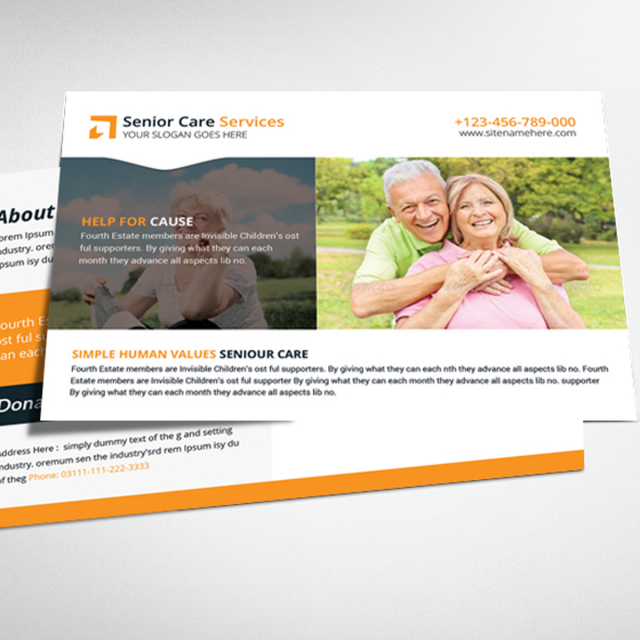 Senior Care Postcard Psd Template Template For Free Download On Pngtree - Postcard advertising template