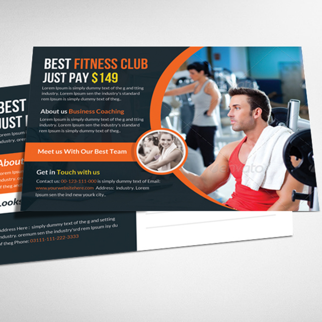 Health And Fitness Postcard Psd Template Template For Free Download