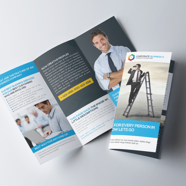 Blue trifold brochure psd template template for free for 3 fold brochure template psd free download
