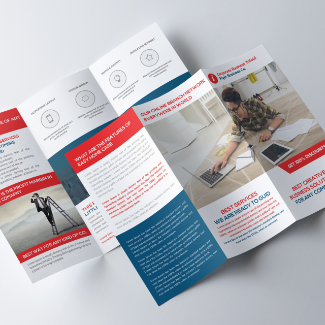 Indesign templates 47 design templates for free download red business trifold brochure pronofoot35fo Gallery