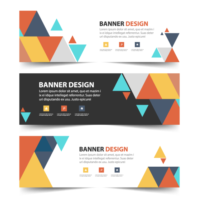 colorful abstract triangle corporate banner template for free