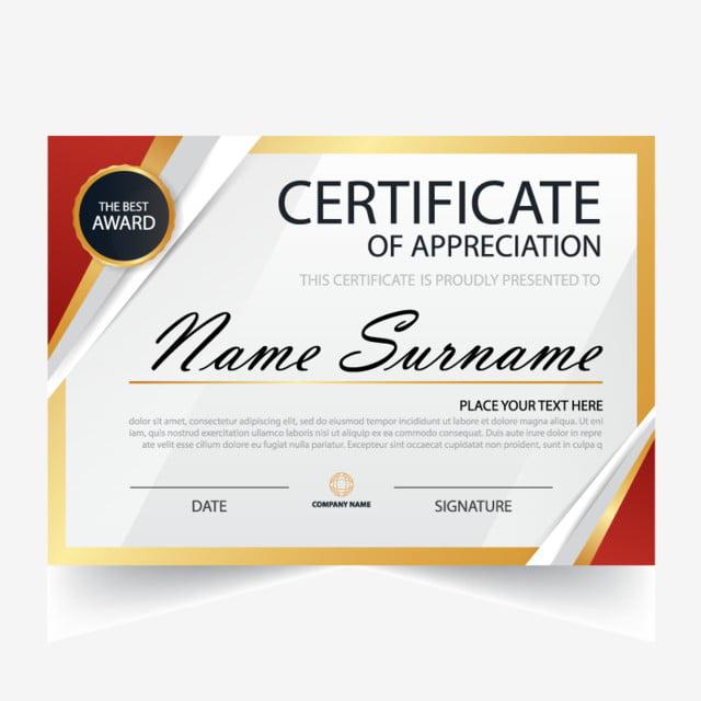 Certificado, template, vector, diploma, premio, realización, diseño ...