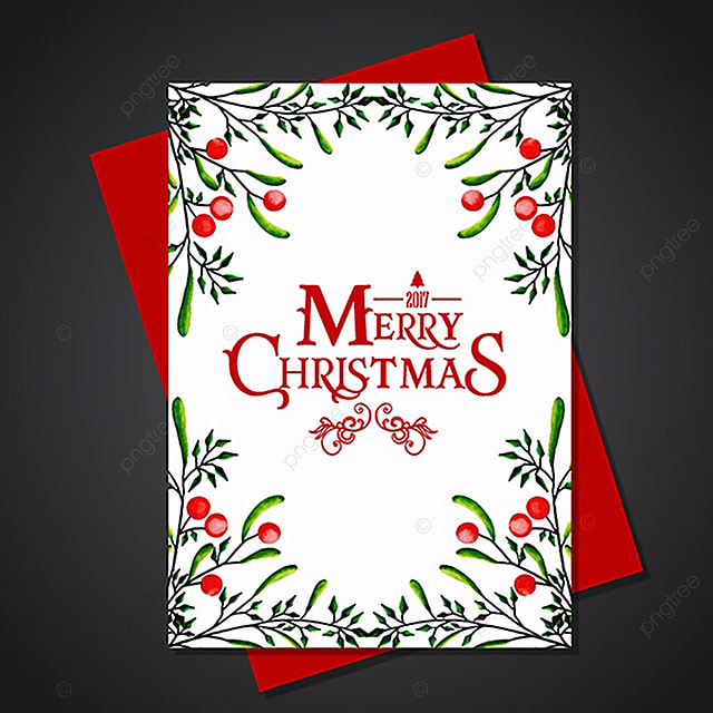 Watercolor Christmas Greeting Card Template For Free Download On Pngtree - Christmas postcard template