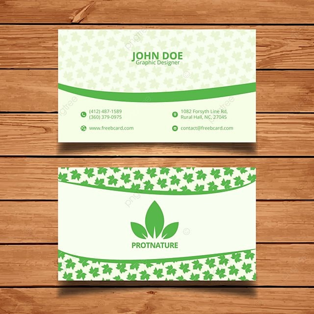 White Business Card With Leaves Template For Free Download On Pngtree
