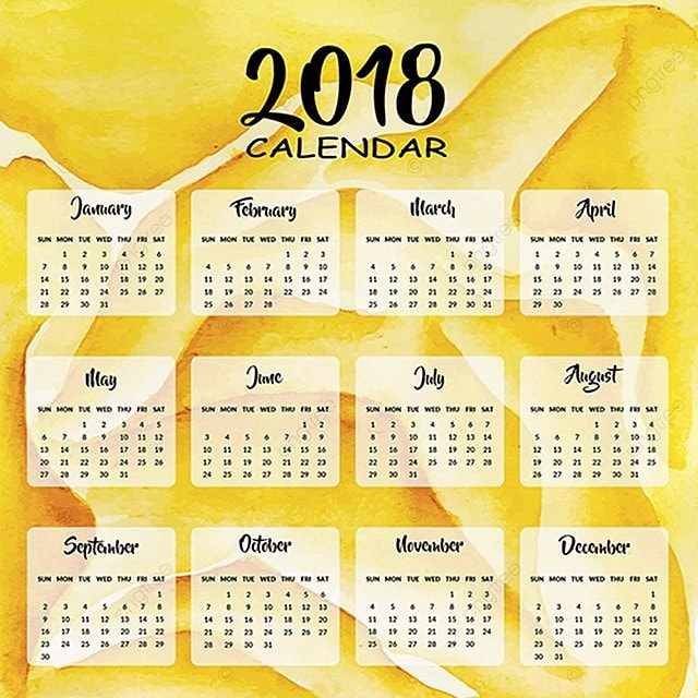 2018 Calendar Template Free Download On Pngtree