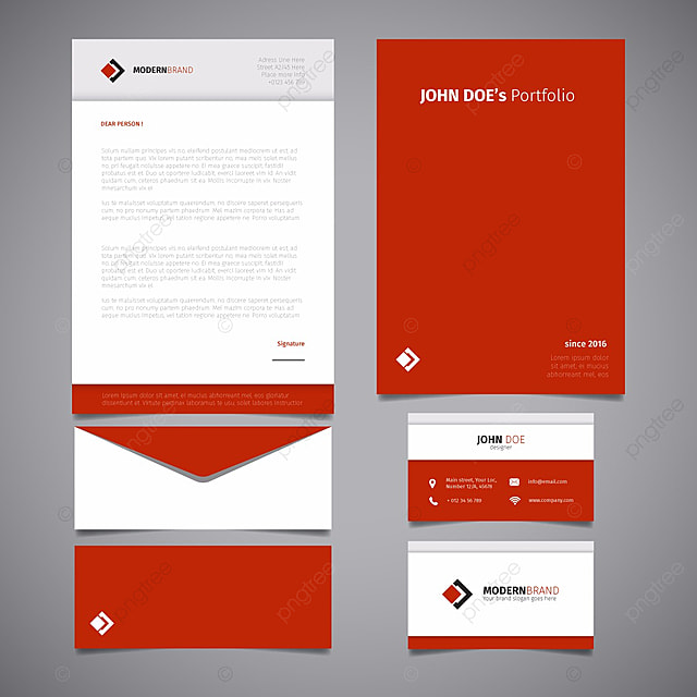 corporate red stationery design template for free download on pngtree