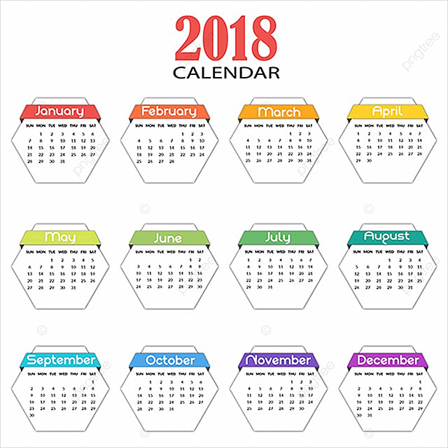 Hexagon calendario anual de 2018 Descarga gratuita de plantilla en ...