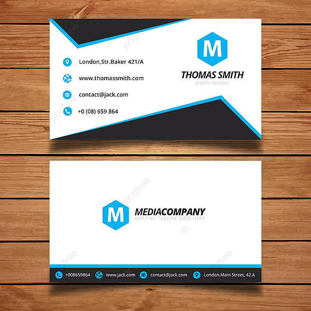 simple blue and white name card Template for Free Download on Pngtree