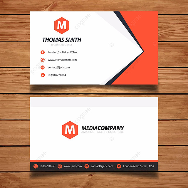bright orange and white name card Template for Free Download on Pngtree
