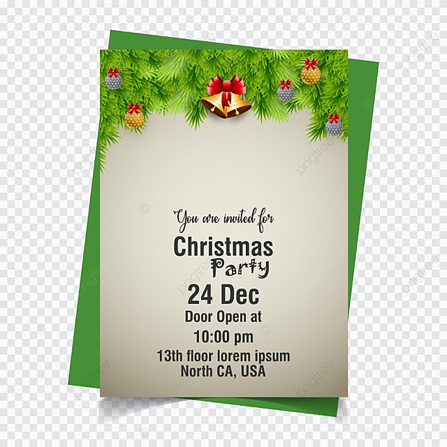 Christmas invitation card on green vector template for free download christmas invitation card on green vector template stopboris Choice Image