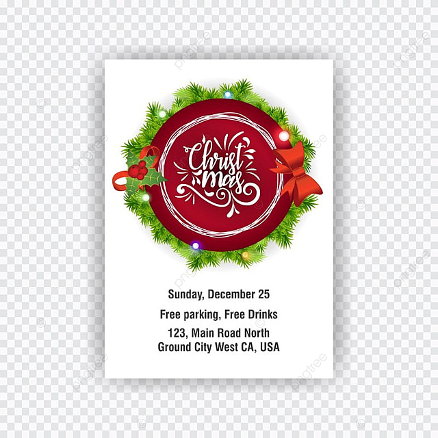 Christmas Invitation Card Stylish Vector Template For Free
