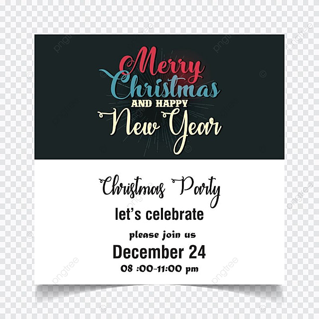 christmas invitation card black vector template