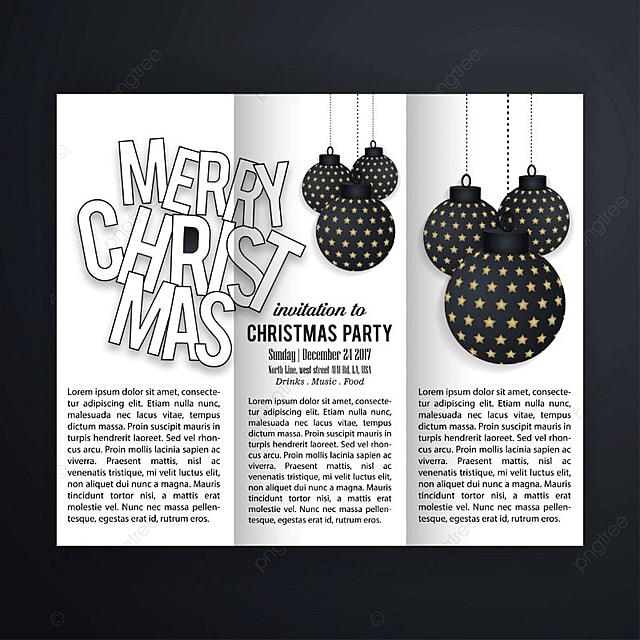 Invitación a la fiesta de Navidad de blanco y negro gratis Descarga ...