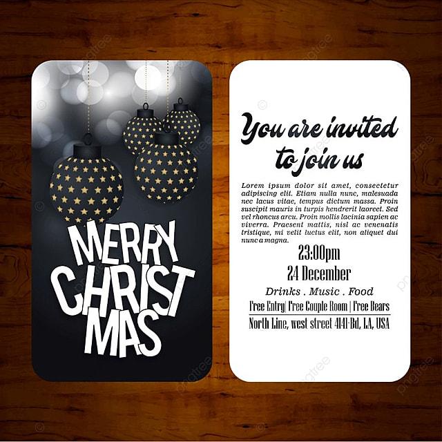 Vecteur Noël Carte Dinvitation En Noir Et Blanc Modèle De
