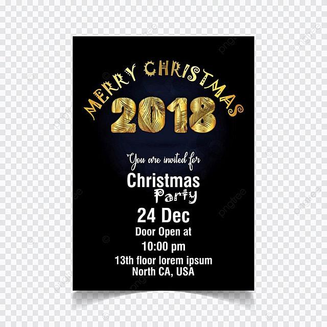 Christmas Invitation Background Gold.Christmas Invitation On Black Background Vector Template For