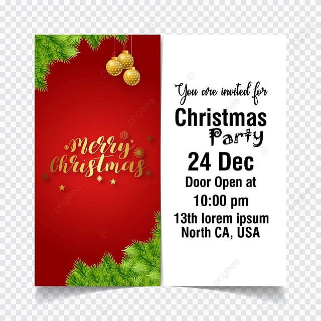 Tarjeta De Invitacion De Navidad Vector Rojo Descarga