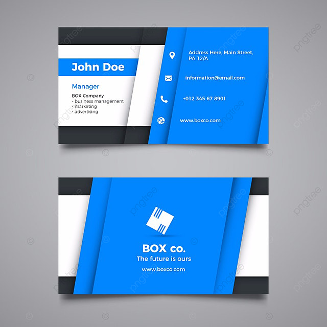 blue and white business card template for free download on