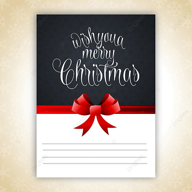 Christmas Invitation With Red Ribbon Template