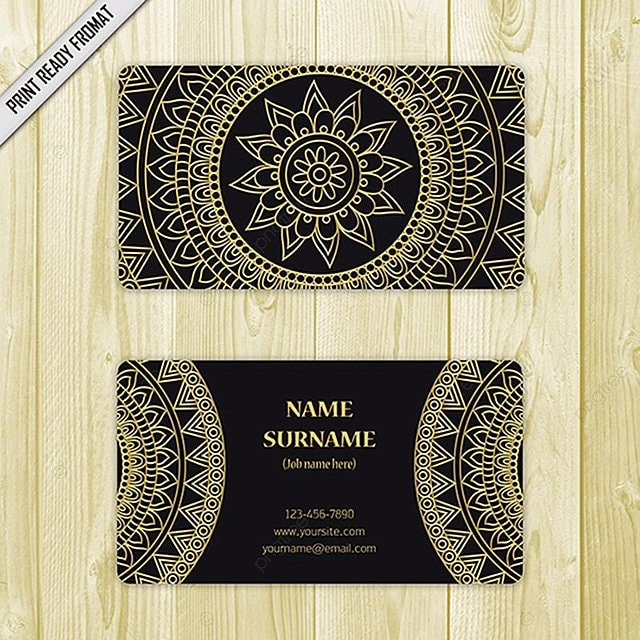 mandala gold visiting card template template for free