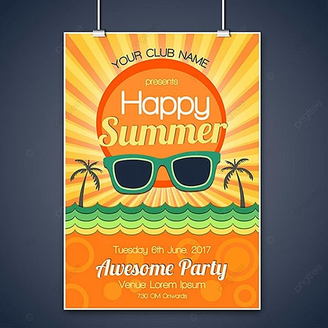 summer party poster design template