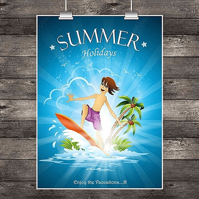 boy surfing in summer party poster design Template for Free Download ...