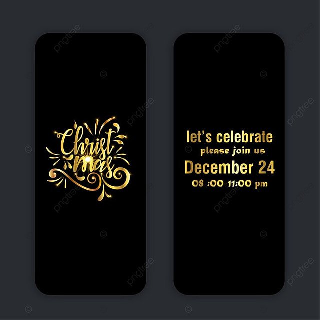 christmas party invitation passes in black color with golden ...