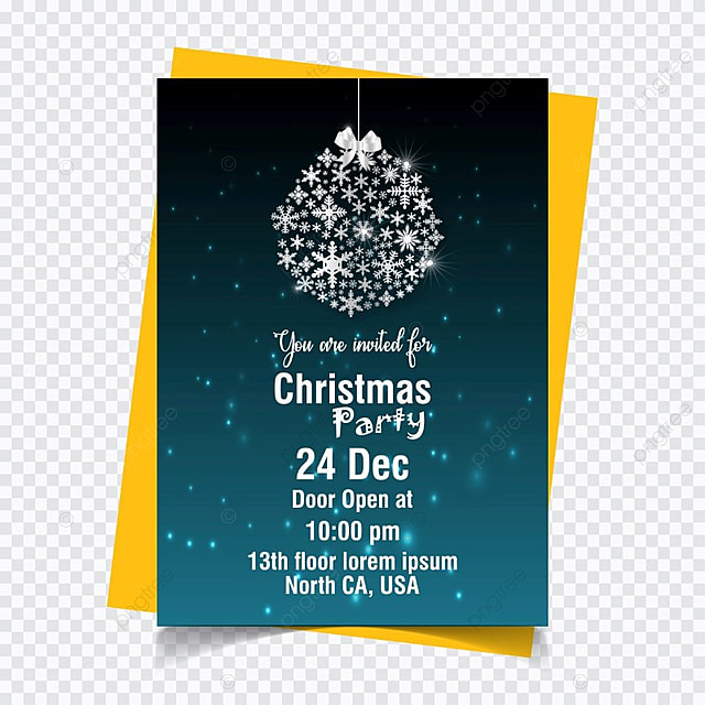 Christmas Party Invitation In Blue Color With White Typogrpahy And