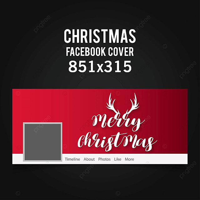 christmas facebook cover in red color on black background with white ...