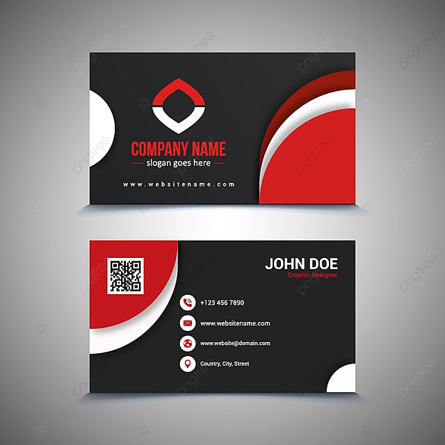 creative and clean business card template black and red colors