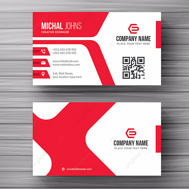 White Business Card With Red Details Template For Free Download On