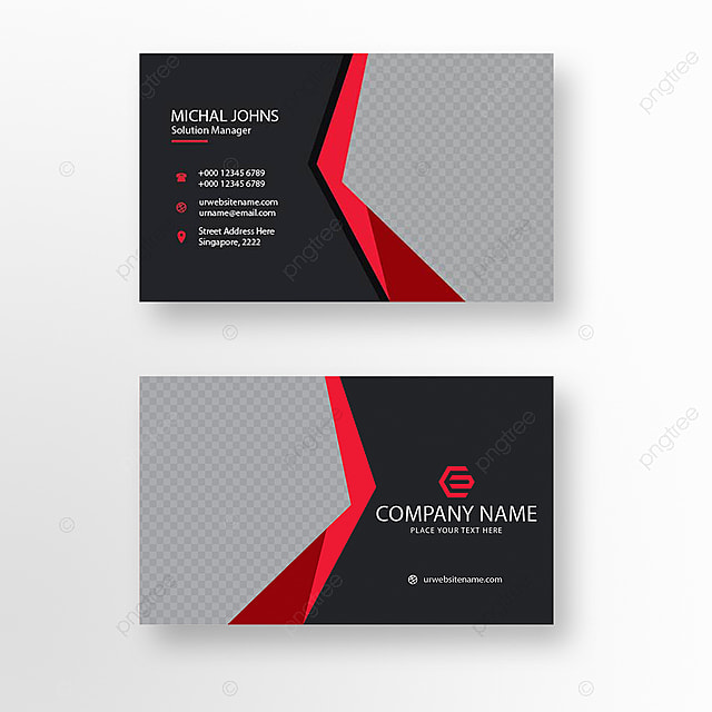 Black And Red Business Card Template For Free Download On Pngtree