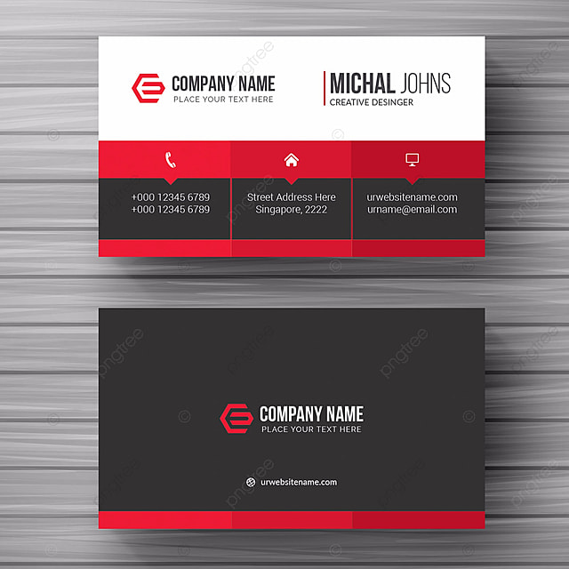 White Business Card With Red Details Template For Free Download On Pngtree