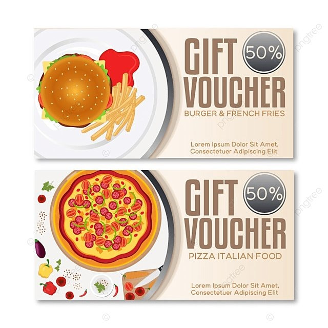 Fast Food Discount Voucher Template. Vector Illustration