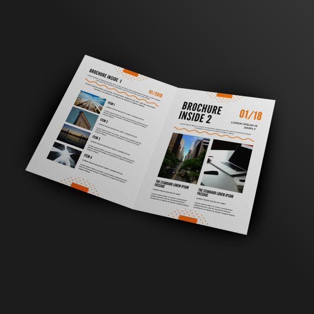 a4 size half fold brochure inside mockup template
