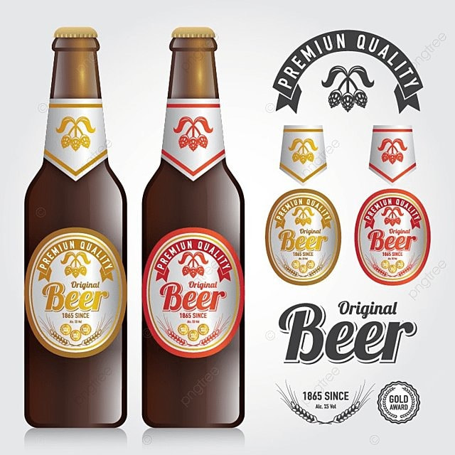 pngtreeにmockup of bottle vector and design premium label of beer