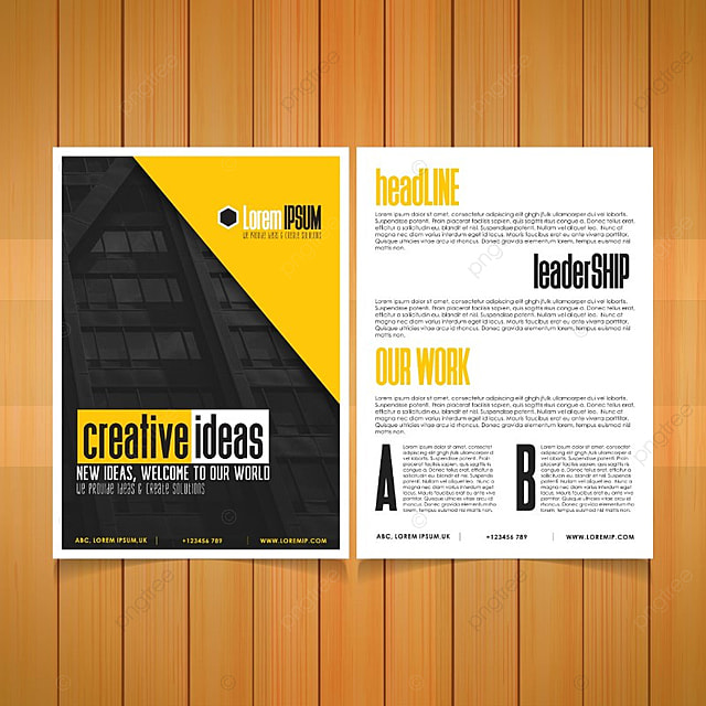 Business Brochure Black And Yellow Background Template For Free