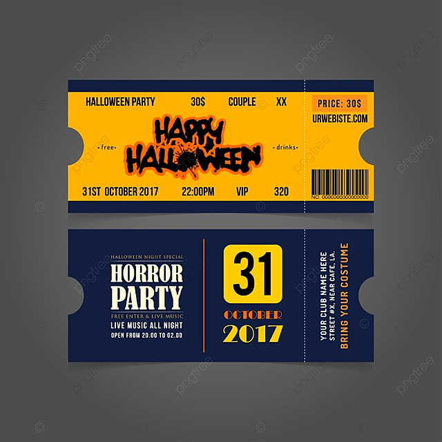 Halloween Invitation Tickets Template For Free Download On