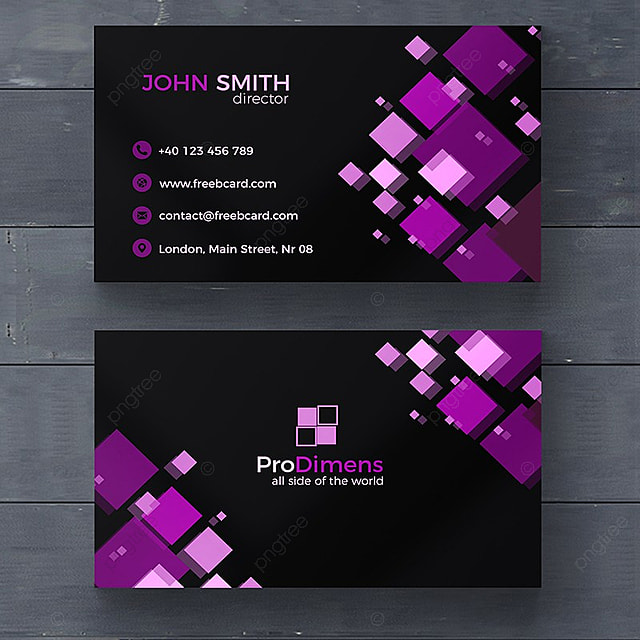 Black And Purple Business Card Template For Free Download