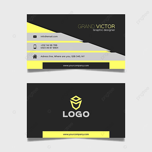 yellow and black business card template free download on pngtree