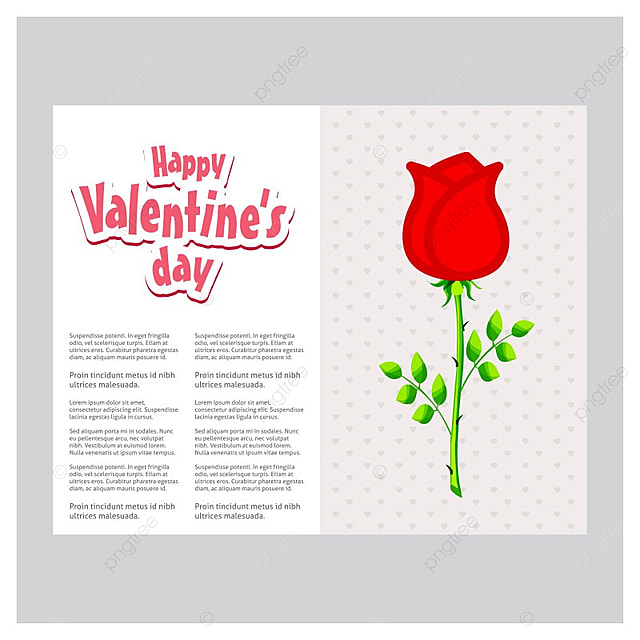 Happy Valentine\'s day card with red rose Template for Free Download ...