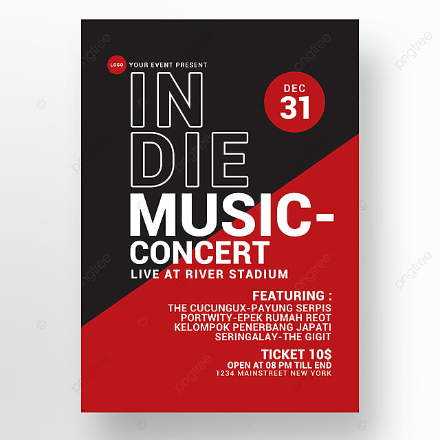 indie music concert poster Template for Free Download on Pngtree