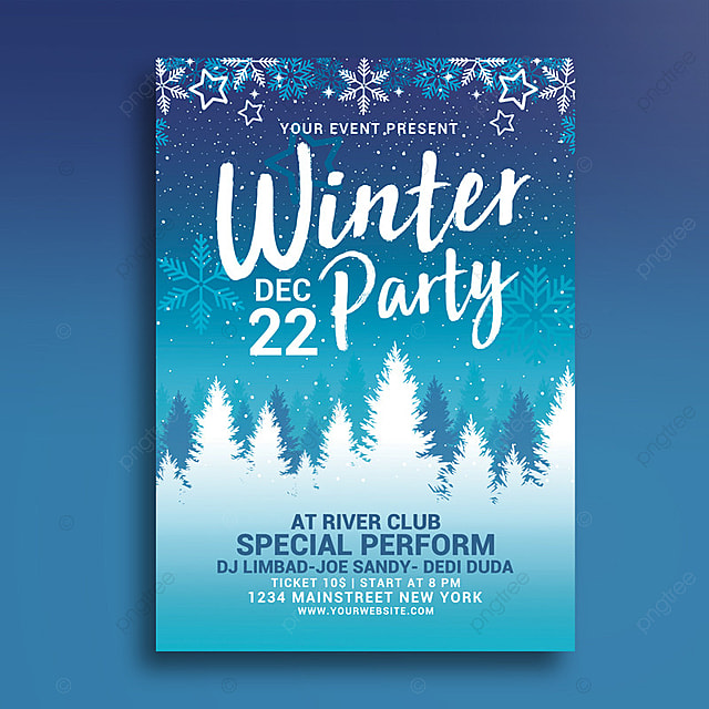 Winter Party Flyer Template For Free Download On Pngtree