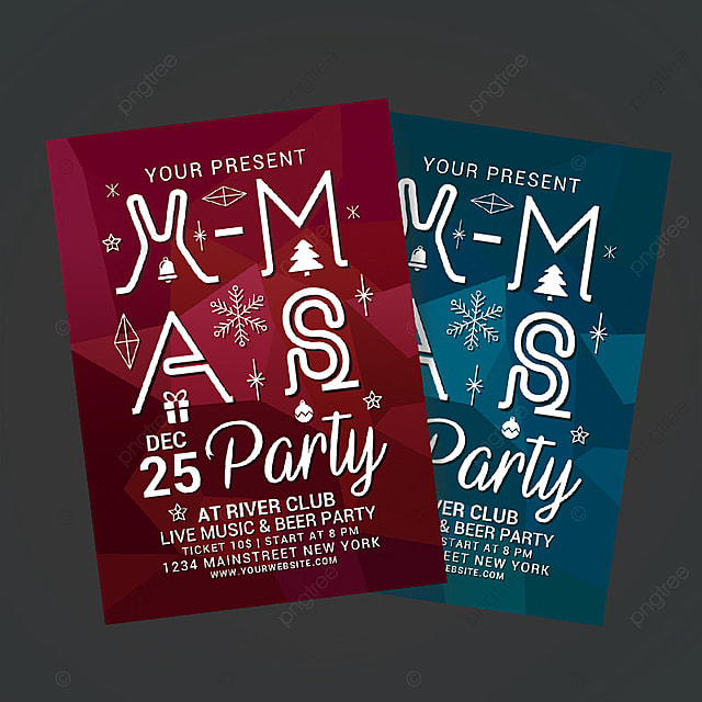 Christmas Party Poster  Christmas Party Ticket Template Free