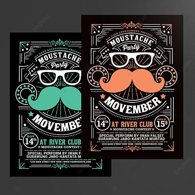 movember schnurrbart party plakat Vorlage zum kostenlosen Download ...